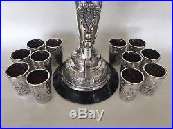 Antique FABERGE Russian 1890s Wine Horn-Form Urn With 12 Beakers Set 84 Silver