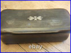 Antique Georgian Handcarved Horn Tobacco Box With Silver Inset Decoration