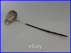 Antique Georgian Sterling Silver Toddy Ladle With Horn Twist Handle