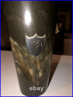 Antique HORN CUP Goblet- BEAKER with Sterling SILVER MEDALLION J C & S Marker