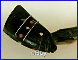 Antique Hand Carved from horn, Egyptian shoe horn, with silver inlay