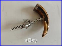 Antique Horn Corkscrew with Sterling Silver Accent