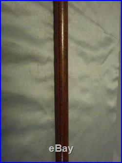 Antique Malacca wood walking cane with Silver plate top and bovine horn feral
