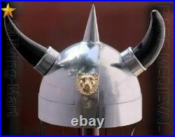 Antique Medieval Armor Helmet With Both Side Horn Helmet Gift Item