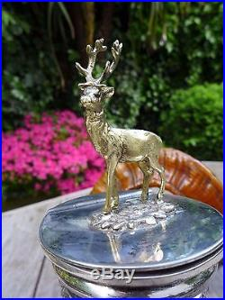 Antique Ram's Horn Snuff Box Made by Walker & Hall Silver Plate with Deer/Stag