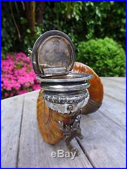 Antique Ram's Horn Snuff Box Made by Walker & Hall Silver