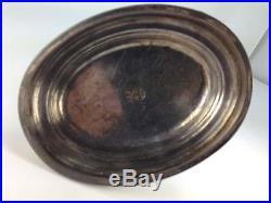 Antique Rare SILVER Meridian Co Glass Horn Cornucopia Vase With Bird Figurine