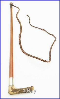 Antique Riding Crop with Stag Horn Handled Wood Shaft and Silver Ferrule