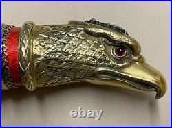 Antique Russian cigar cutter with silver, enamel, horn, diamond and ruby handle