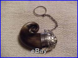 Antique Scottish Horn Silver Topped Vinaigrette, With Ornate Grill, & Cairngorm