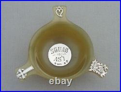 Antique Scottish Horn Small Quaiche With Silver Mounts Edinburgh 1905 Sguab As'l
