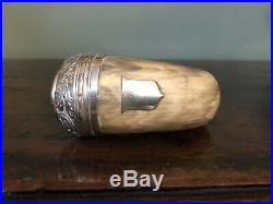 Antique Scottish Horn Snuff Mull Box with Silver Lid & Smoked Quartz Stone 19thC
