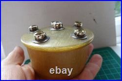 Antique Scottish Horn Trinket Pot silver set with Citrine and Rock Crystal