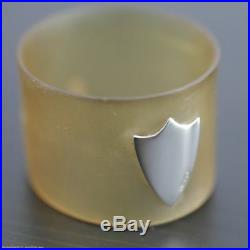 Antique Scottish horn napkin ring with solid silver shield