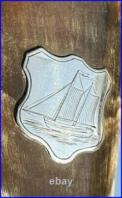 Antique Silver Rimmed Horn Beaker with solid Base / Cup / Goblet