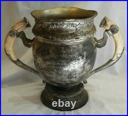 Antique Silverplate Hunting & Shooting Trophy Cup with Horn Handles from 1911