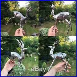 Antique Style Solid Silver Pr Of Deer Stag Figures Statue With Horns Male&female