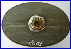 Antique Victorian Scottish Horn And Silver Mounted With Citrine Snuff Box
