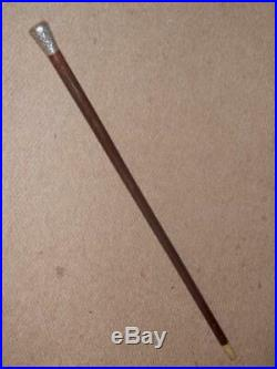 Antique Walking Stick With Repousse Silver Top & Bovine Horn Ferrule 87cm