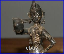 Antique hand made silver plated figurine Asian woman with folk costume and horn