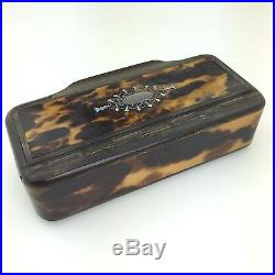 Antique snuff box in horn with Faux Tortoise shell inlaid and silver ornaments