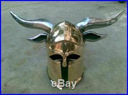 Armour Corinthian Helmet With Steel Horns Medieval Greek Knight Spartan Helmet