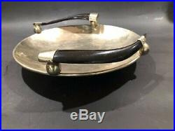 Art Deco styalized silver centerpiece bowl with horn antler handles 12 inch