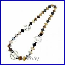 Auth HERMES Long Necklace Lena Buffalo Horn Silver 925 Dark Brown With xz636