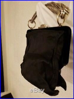 Authentic 100% Silk Yves Saint Laurent Evening Handbag with Silver Horn Handle