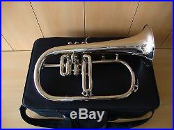 BEST DEAL NOW! New Silver BbFlugel Horn With Free. Hard Case+Mouthpiece