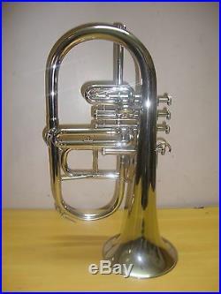 BRAND NEW -SILVER! Bb/F 4 VALVEFLUGEL HORN- WITHFREE HARD/CASE+MOUTHPIECE