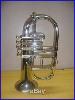 BRAND. NEW SILVER! Bb/F 4. VALVEFLUGEL-HORN. WITHFREE-HARD/CASE+MOUTHPIEFCE