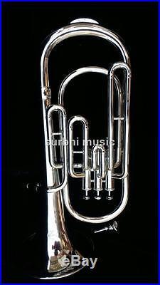 Baritone Horn Baritone Silver Chrome Nickle 3 Valve With Free Case & Mouthpc