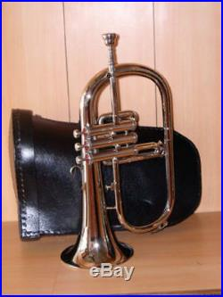 Bb FLAT FLUGEL HORN NEW SILVER! WITH FREE HARD CASE+M/PEXQUISITE OSWAL