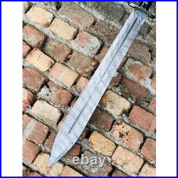 Beautiful Custom Handmade Damascus Steel Sword With Leather Sheath Length 22'
