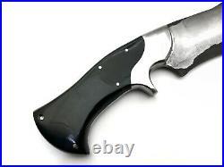 Beautiful Custom handmade San mai kukri knife with black horn and steel clip