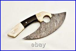 Beautiful Handmade Damascus steel Ulu knife with bone and buffalo horn