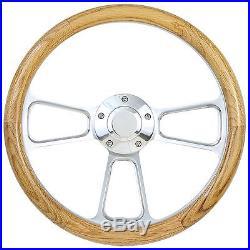 Beautiful Oak Half Wrap Steering Wheel Polished Billet with Working Horn