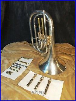 Beautiful Silver Plate King 1122 Marching French Horn Refurbished with Case