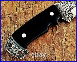 Best Customized Handmade Engraved Hunting Knife With Bull Horn Handle