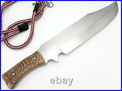 Best Handmade D2 Steel 3/8 Thick Sharp Edge Hunting Bowie Knife With Ram Horn