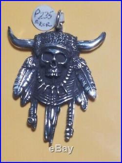 Biker Skull With Horns 925 Serling silver Pendant
