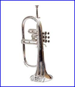 Brand New Flugel Horn Nickle Plated Made Of Brass With Mouth Piece & Box Gtn991