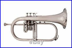 Brand New Silver Bb Flugel Horn PURE BRASS MADE With Free Hard Case+Mouthpiece