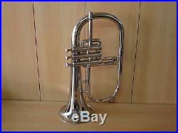 Brand New Silver Bb Flugel Horn With Free Hard Case+Mouthpiece+Fast Ship
