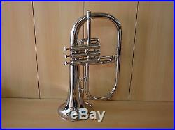 Brand New Silver Bb Flugel Horn With FreeHard Case+Mouthpiece+FAST Shipping
