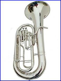 Brand New Silver Nickel Bb Flat Euphonium horn 4 Valves With Free Case