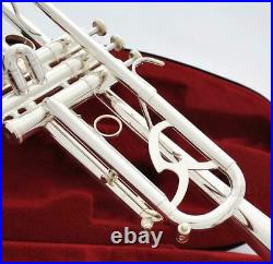 Brand new Professional Reverse Leadpipe Trumpet horn Silver Plated with Case