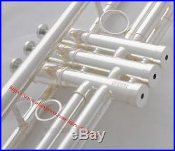 Brand new Professional Silver Trumpet New Design horn Monel valve with Case
