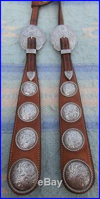 Broken Horn Sterling Silver Overlay Horse Show Headstall Loaded with Conchos